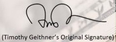 Timothy Geithner Original Signature from Marketplace.org