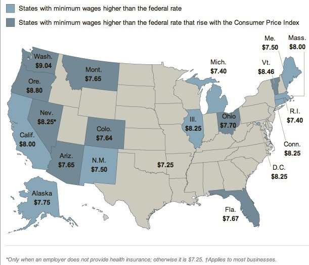 "From 2012, this minimum wage ""map"" does not include January 1, 2013 cost of living increases (COLAs) in 10 states."