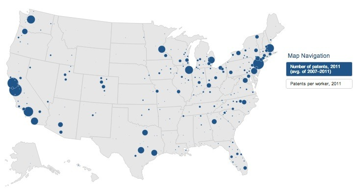 The dots indicate the areas with the most patents. At Brookings (linked below), the map is interactive.  