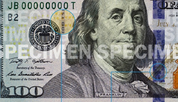 Money Supply Fed Logo New $100 bill