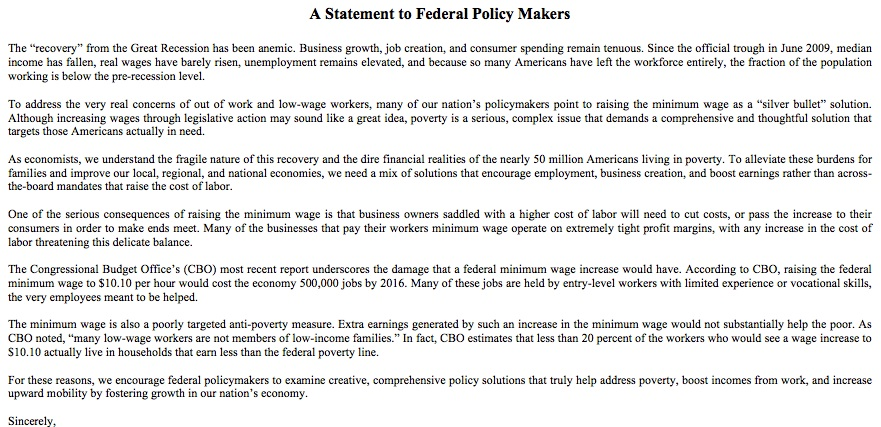 Minimum wage hike opposed by 500 economists.