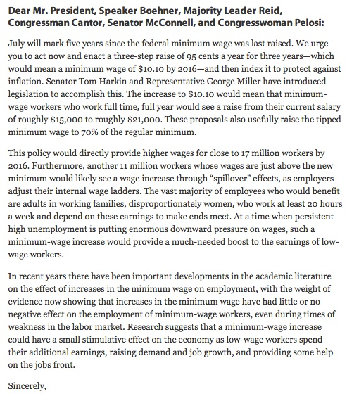 Minimum wage supported in economists' letter.