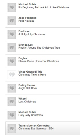 A Dow Industrials list of Christmas songs