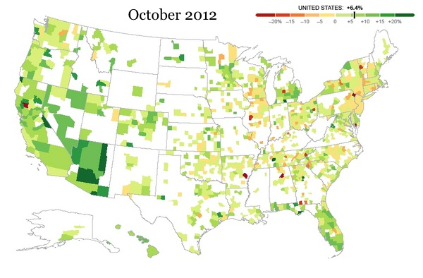 Great recession home prices changes 2012