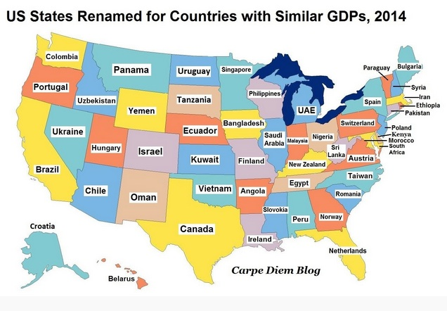 GDP size through country equivalents for states