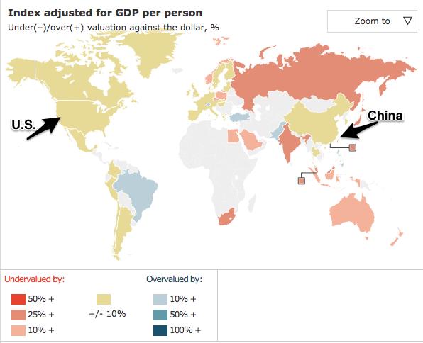 The yuan's devaluation and the Big Mac Index