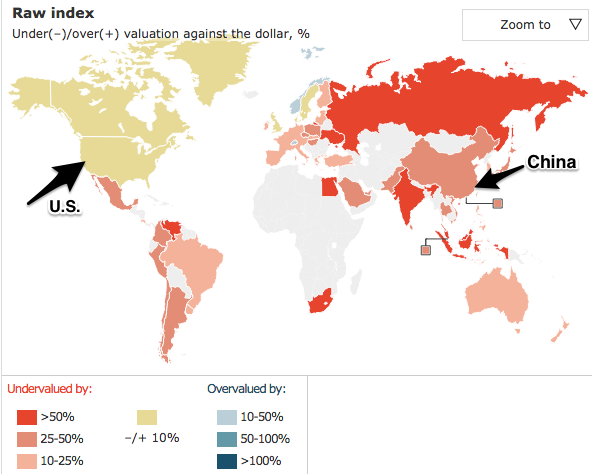 Yuan devaluation explained by Big Mac Index